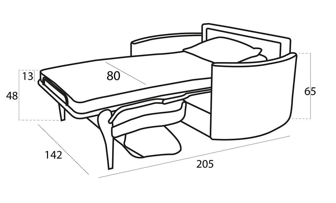Bolero sillón 3D croquis abierto