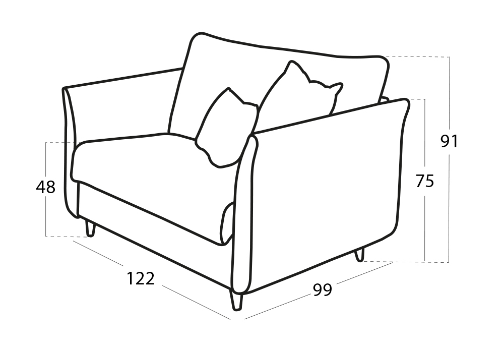 Helsinki sillón 3D croquis