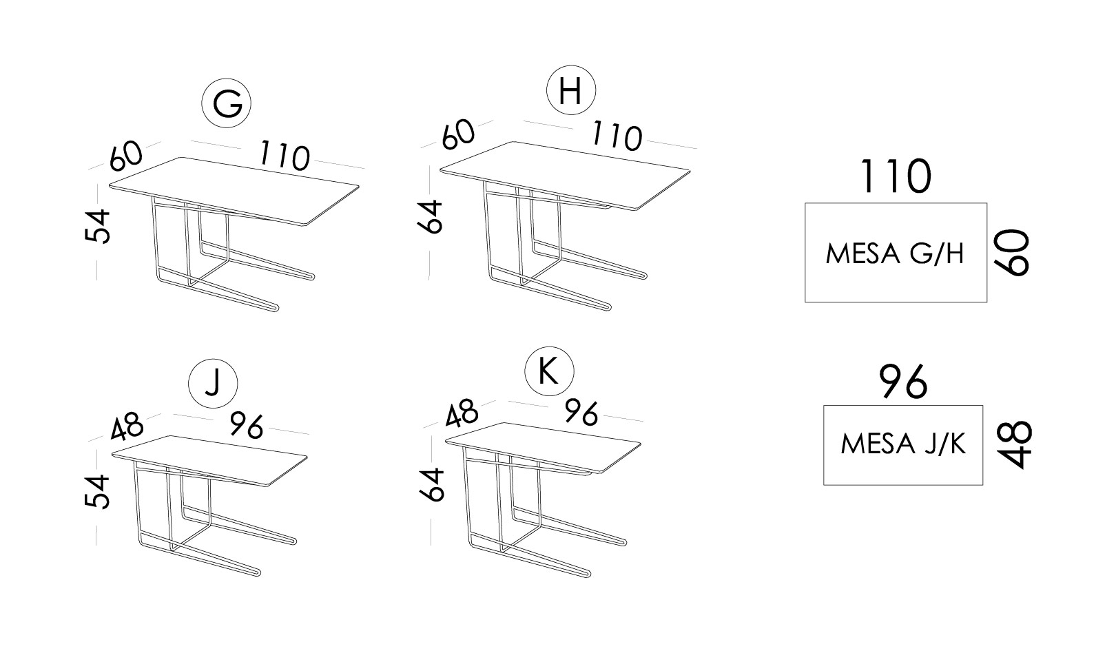 Klee medidas mesas