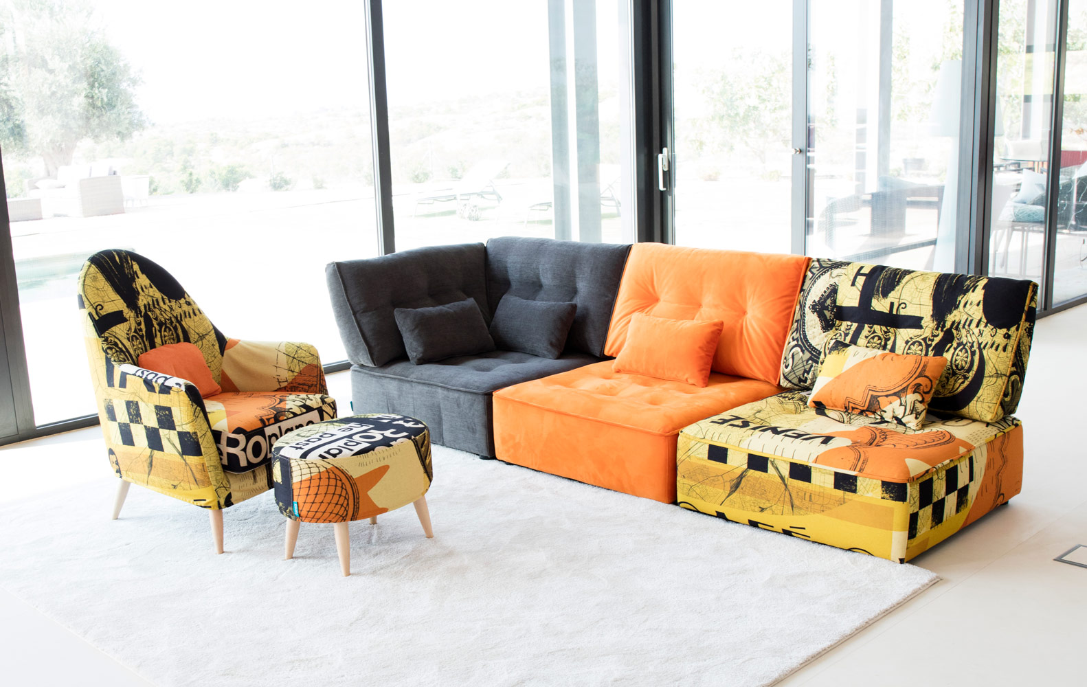 Tonalidades naranjas sofas y sillones Fama 13