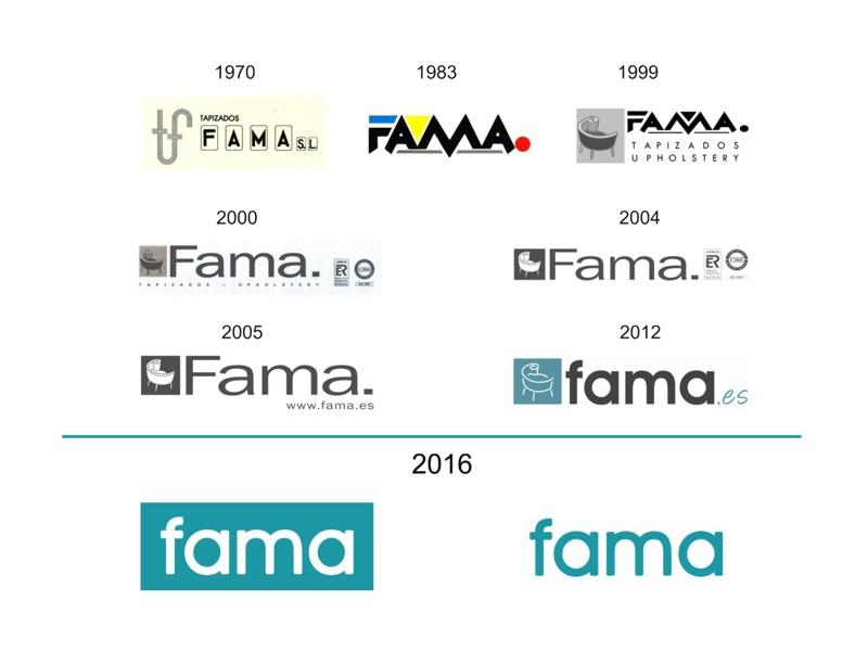 Evolución del logo de Fama.