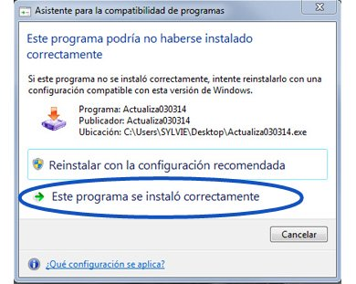 Une fois l'installation finie s'affiche le message « Ce programme pourrait ne pas s'être installé correctement »
